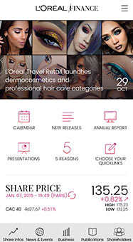 L'Oréal Finance Application mobile IOS/Android Mobile
