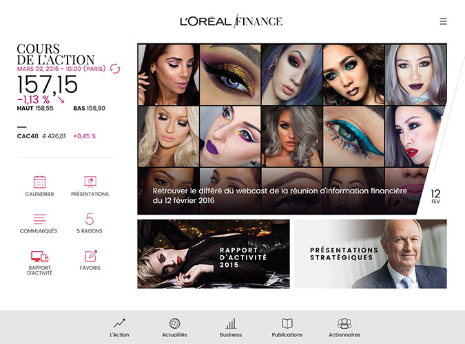 L'Oréal Finance Application mobile IOS/Android Tablet